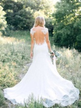Scoop Neck Cap Sleeves Lace Wedding Dress