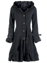 Single-Breasted Wool Hood Women's Overcoat