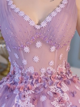 Ball Gown V-Neck Beading Pearls Floor-Length Quinceanera Dress