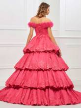 Off-the-Shoulder Lace Tiered Quinceanera Dress