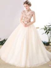 Ball Gown Appliques High Neck Beaded Floor-Length Quinceanera Dress