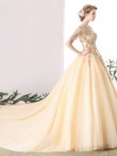 Jewel Lace Pearls Floor-Length Quinceanera Dress