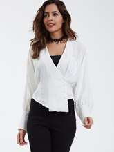 Solid Color Loose Lapel Half Sleeve Women's Blouse