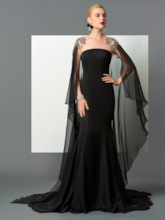 Scoop Mermaid Beading Lace Watteau Train Evening Dress