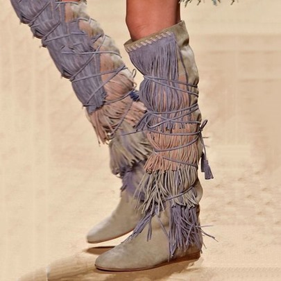Suede Fringe Knee High Cowgirl Women's Boots