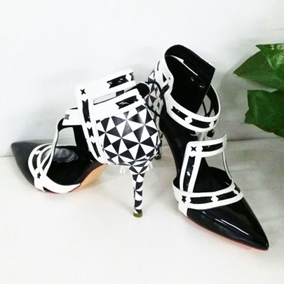 Pointed Toe Lace-Up Geometric Stiletto Heel Women's Pumps