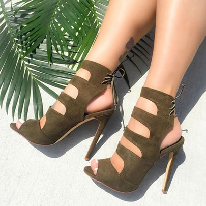 Army Green Laser Cut Sandals