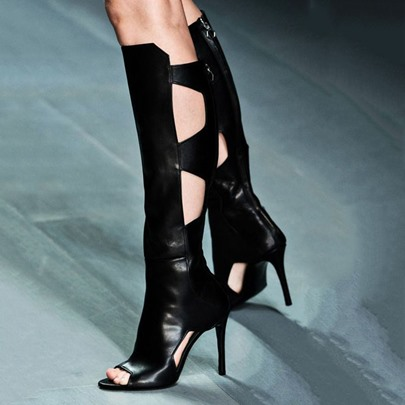 Black Gothic Knee High Hollow Women's Boots