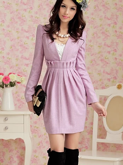 Pretty V-Neck Bodycon Women's Long Sleeve Dress