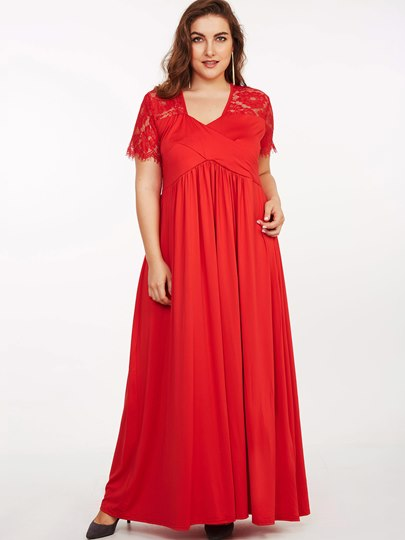 Plus Size Short Sleeve Lace Patchwork Women's Maxi Dress