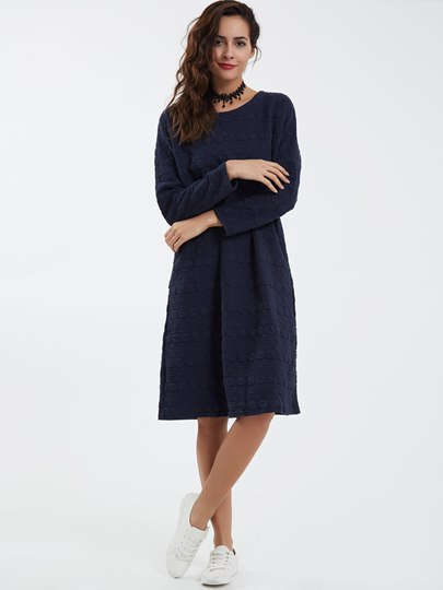 Casual Round Neck Polka Dots Day Dress