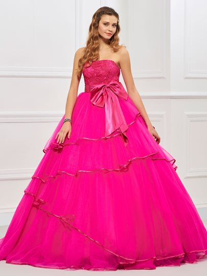 Strapless Bowknot Ruffles Quinceanera Dress