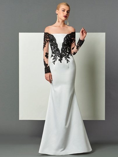 Sheath Off-the-Shoulder Appliques Evening Dress