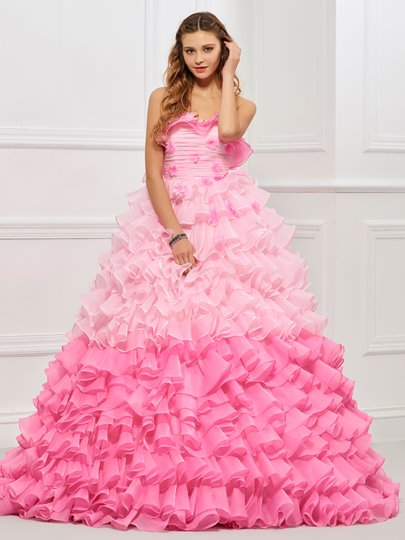 Strapless Ball Gown Cascading Ruffles Floor-Length Quinceanera Dress