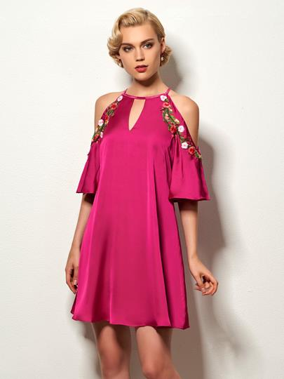Halter A-Line Embroidery Short Cocktail Dress