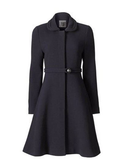 Plain Zipper Lapel Pearl Button Belted Women's Overcoat