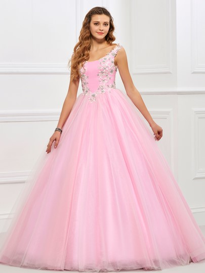 Scoop Zipper-Up Ball Gown Appliques Beading Floor-Length Quinceanera Dress