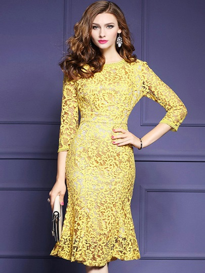 Yellow Fishtail Women's Lace Dress