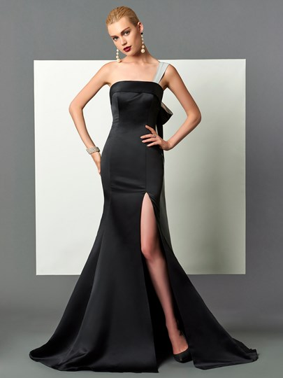 Mermaid One-Shoulder Split-Front Court Train Evening Dress