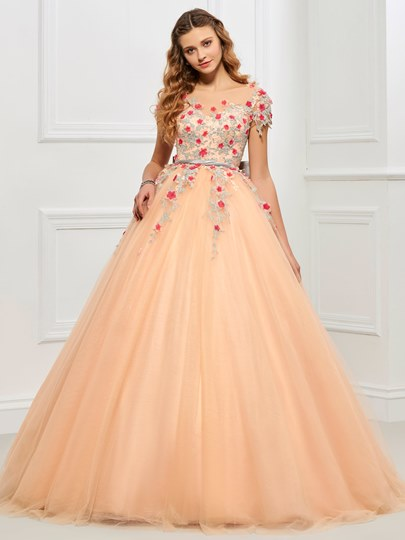 Scoop Appliques Bowknot Sashes Quinceanera Dress