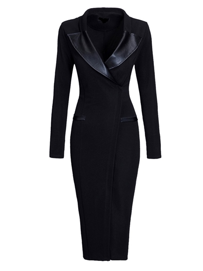 Plain Polyester Bodycon V-Neck Women's Sheath Dress