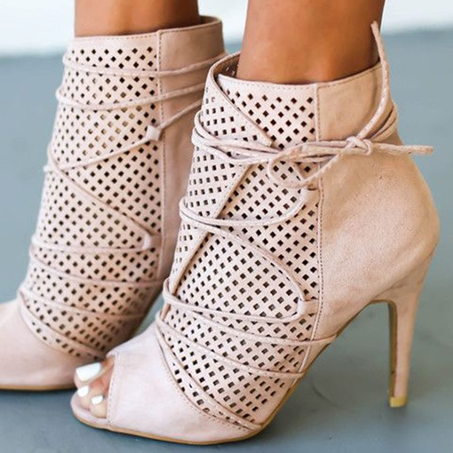 Light Pink Open Toe Bootie Sandals