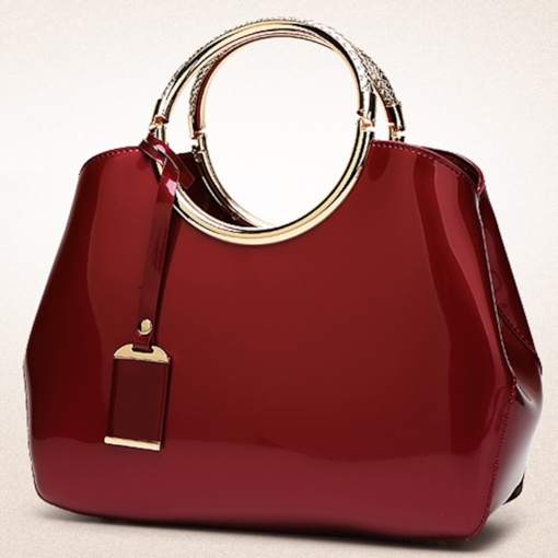 Shiny Patent with Circle Metallic Handle Women Handbag