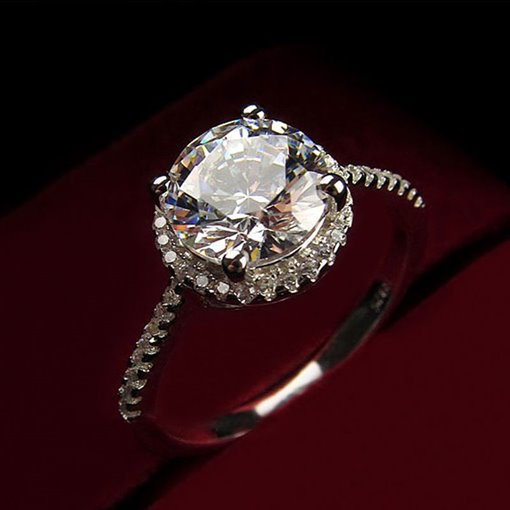 Round Zircon Inlaid 925 Silver Ring for Women