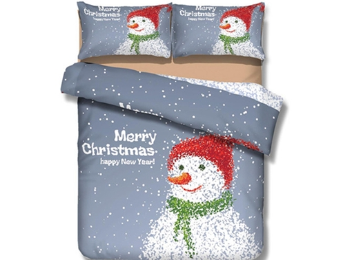 Adorable Snowman Print 4-Piece Polyester Duvet Cover Sets
