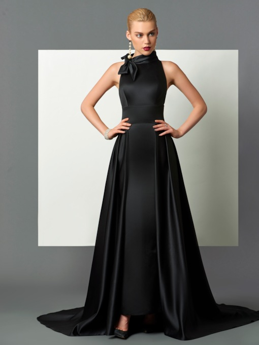 High Neck A-Line Bowknot Court Train Evening Dress