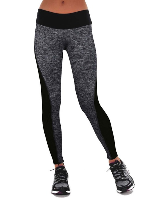 Patchwork Color Block Mid-Waist Women's Leggings