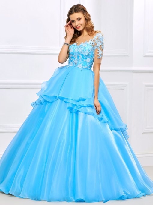 Jewel Ball Gown Appliques Floor-Length Quinceanera Dress