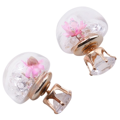 Hemispherical with Dried Flowers Stud Earrings