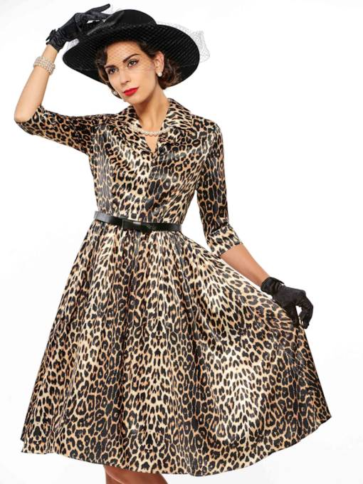 Lapel Leopard A-Line Belt Women's Day Dress