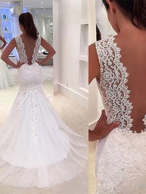 Deep V-Neck Appliques Mermaid Wedding Dress