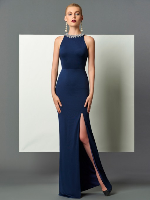Halter Sheath Beading Split-Front Backless Floor-Length Evening Dress