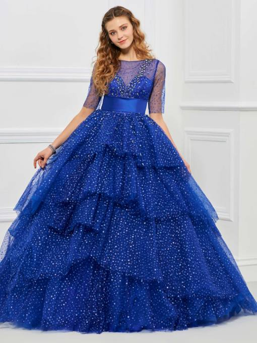 Scoop Beading Bowknot Sequins Quinceanera Dress