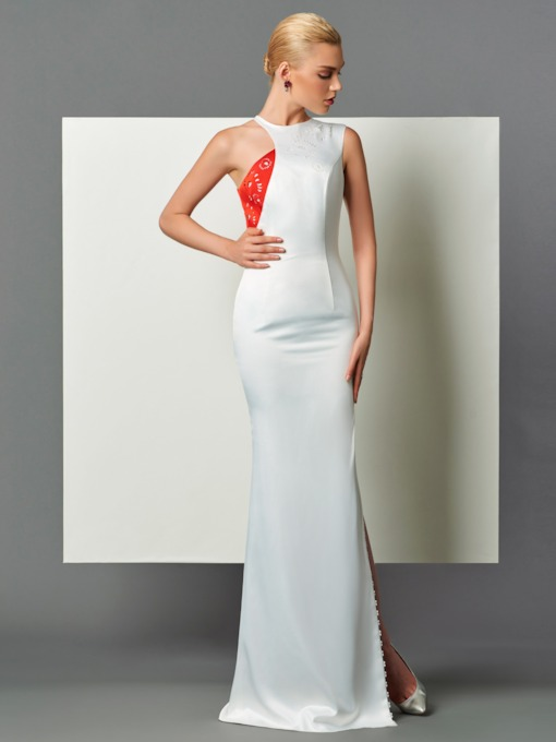 Jewel Sheath Hollow Split-Front Evening Dress