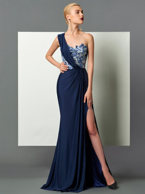 Sheath Draped Sequins Split-Front Evening Dress