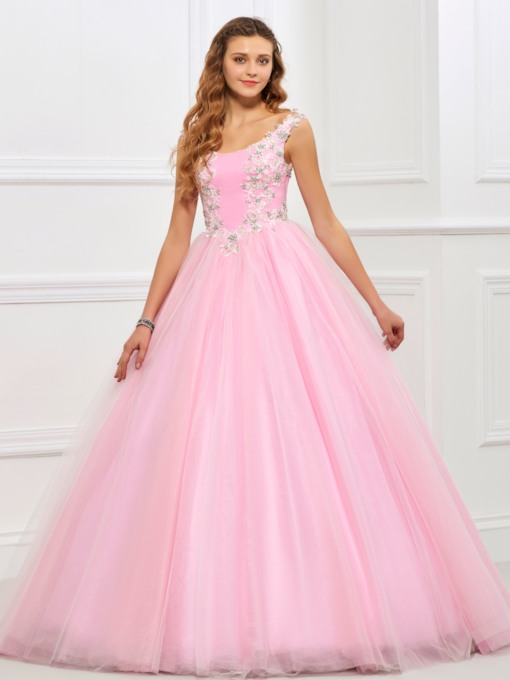 Scoop Neck Appliques Beading Quinceanera Dress