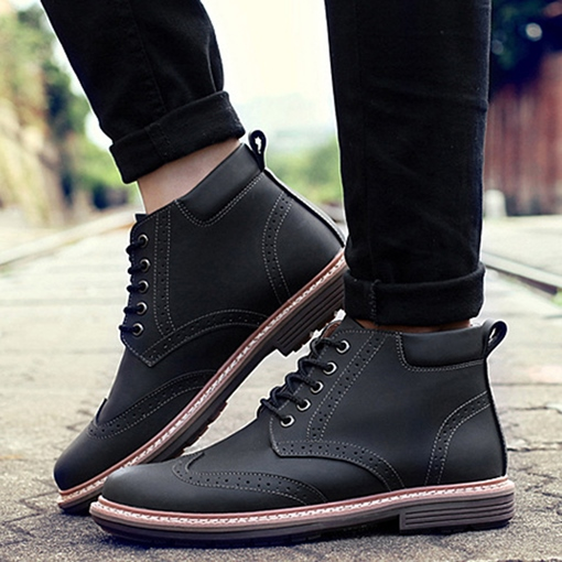 Square Low Heel Ankle Cross Strap Men's Boots