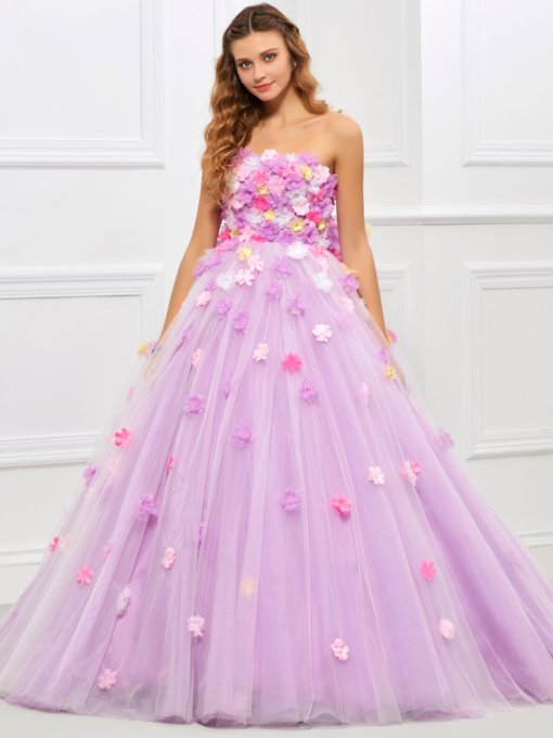 Strapless Ball Gown Bowknot Flowers Floor-Length Quinceanera Dress