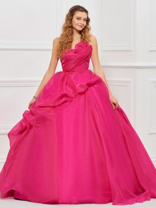 Sweetheart Ball Gown Pick-Ups Fuchsia Quinceanera Dress