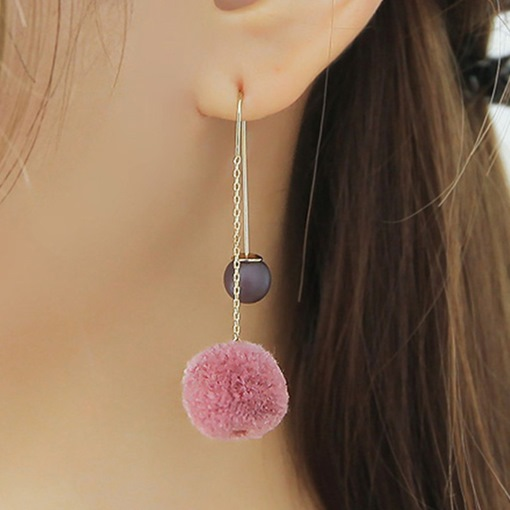 Colorful Ball Pendant Chain Earrings