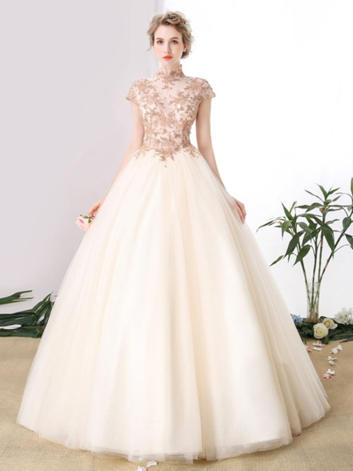 High Neck Appliques Beaded Quinceanera Dress