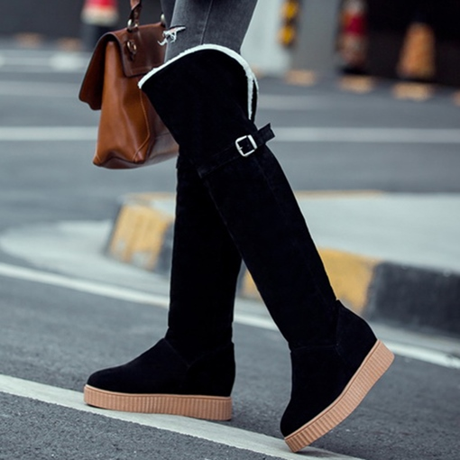 Women's Warm Knee High Short Floss Suede Platform Snow Boots