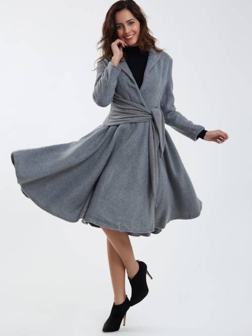 Vintage Gray Pleated Long Sleeve Women's Overcoat