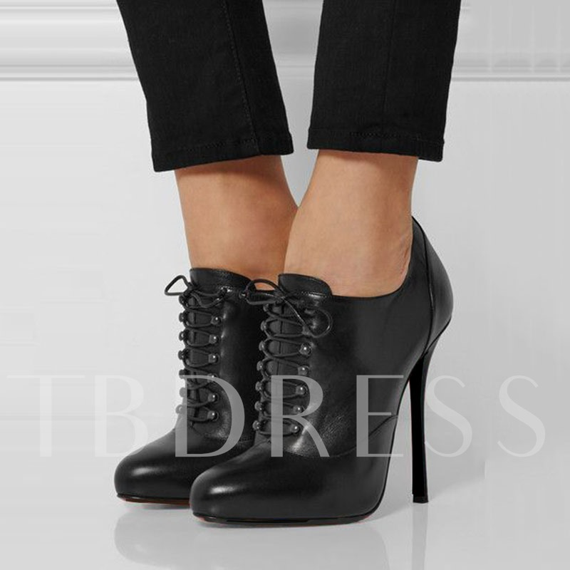 Chic Black Lace Up Ankle Women's Boots
