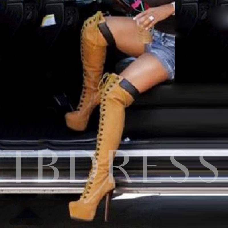 Brown Knee High Cowgirl Boots, Spring,Fall, 12667019