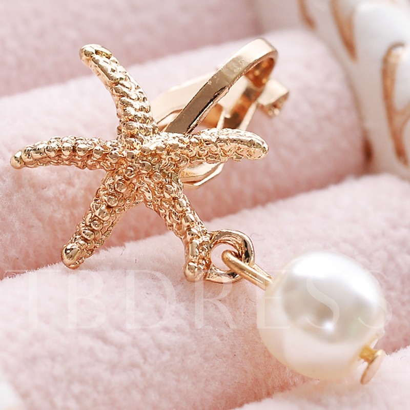 Golden Starfish Design Pearl Pendant Ear Cuff